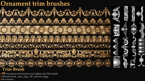Ornament trim Brush and 3d models vol.1
