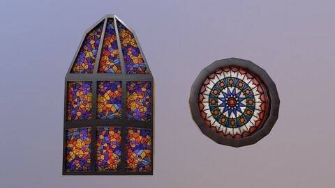 Low Poly Gothic Windows 3D Model