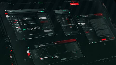 FUI / UI - Screen graphics assets set