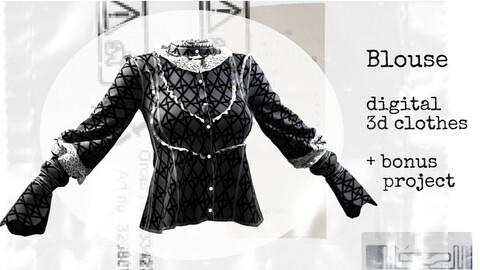 Victorian blouse. Marvelous Designer, Clo3d project