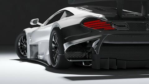 hard surface McLaren GT 650 white color + OBJ + FBX