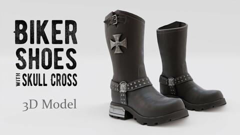 Biker shoes with skull cross