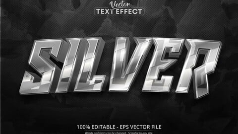 Silver text, shiny silver color style editable text effect
