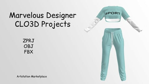 Sportwear-Shirt-T-shirt-Pants -  Marvelous Designer & CLO3D Projects - OBJ- FBX