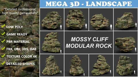 Low poly Mossy Jungle Cliff Modular Collection 210417