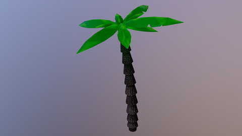 Low Poly Tropical Tree 3D Model