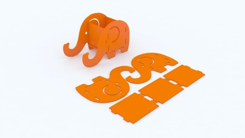 Elephant Shape Mobile Holder and Container Puzzle