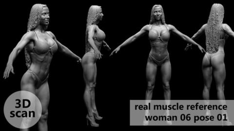 3D scan real muscleanatomy Woman06 pose 01
