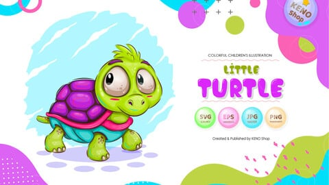 Little cartoon turtle.
