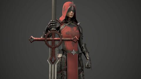 Girl Knight, Game Ready, UE4