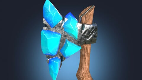 Stylized Melee Weapon Axe with Ice Crystals PBR game ready Low-poly 3D model