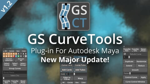 GS CurveTools v1.2 - Maya Plug-in. Curve Controlled Hair Cards, Pipes and more.