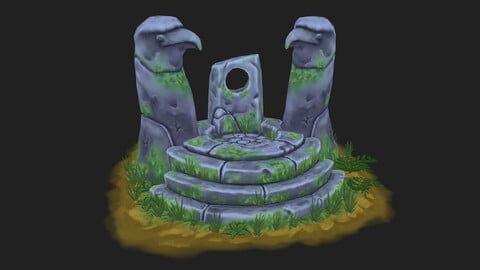 Ancient altar Low-poly 3D model