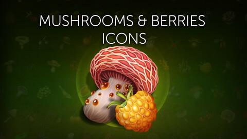 Mushrooms & berries icons