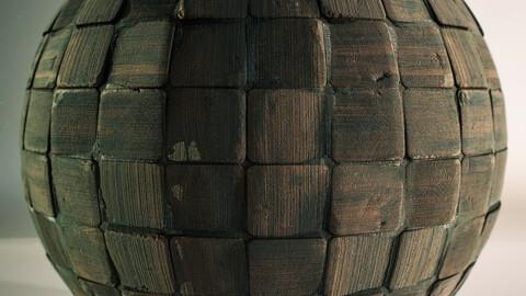 PBR - WOODEN FLOOR / OLD / CUBE DESING / MEDIEVAL - 4K MATERIAL