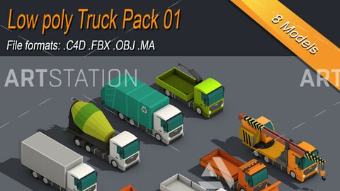 Low Poly Truck Isometric Icon Pack 01