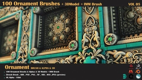 100 Ornament Brushes + 3DModel + IMM Brush - VOL 05