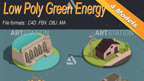 Low Poly Green Energy Isometric Icon