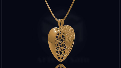 Heart Plane Gold Pandent, 3D cad for print, Pictures and Videos