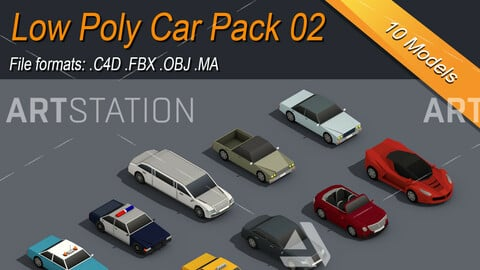 Low Poly Car Isometric Icon Pack 02