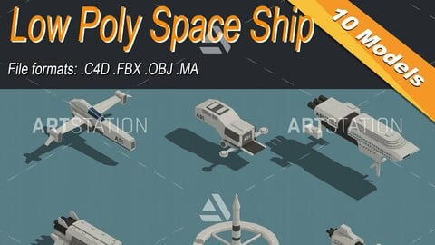 Low Poly Space Ship Isometric Icon