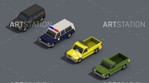 Low Poly Truck Pack 02 Isometric Icon
