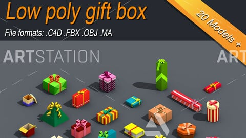 Low Poly Gift Box Isometric Icon