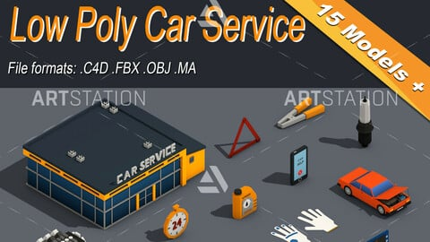 Low Poly Car Service Engine Repair Isometric Icon