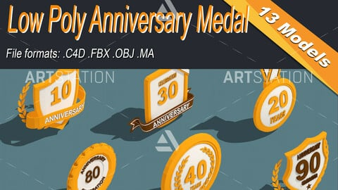 Low Poly Anniversary Medal Isometric Icon