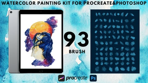 93 Watercolor Painting kit for Procreate&Photoshop