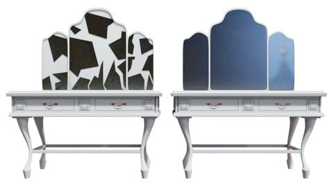 Fancy Dressing Table Broken and Normal versions Low-poly 3D model