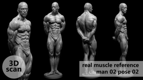 3D scan real muscleanatomy Man02 pose 02