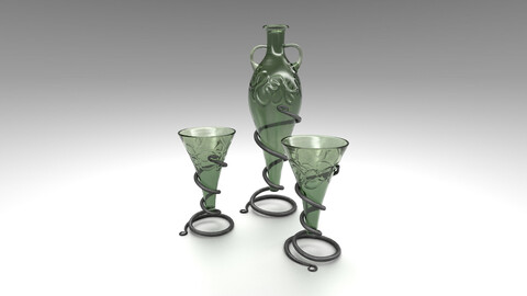 Viking Cone Glass and Glass Pitcher