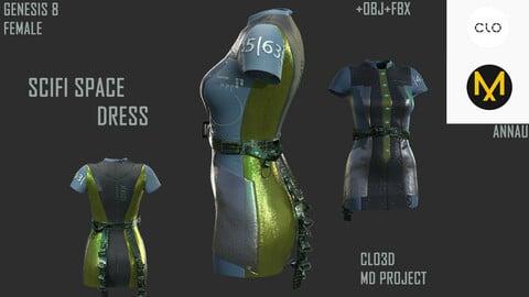 GENESIS 8 FEMALE: SCIFI SPACE DRESS: CLO3D, MARVELOUS DESIGNER PROJECT| +OBJ +FBX