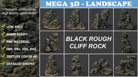 Low poly Black Cliff Modular Rock Collection 210423