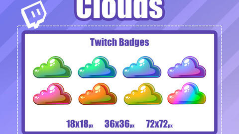 8x CLOUD TWITCH Sub Badges