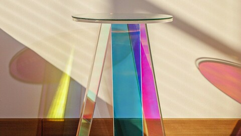 Hologram side table side table Dia35+ tempered glass presented