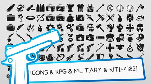 + 4182 RPG & MILITARY ICONS & PNG, SVG