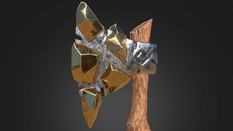 Stylized Melee Weapon Axe with Golden Crystals PBR game ready Low-poly