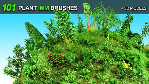 101 Plant IMM Brushes for Zbrush