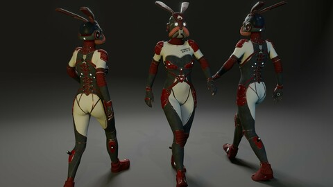 Sci-Fi suit - Rabbit Low-poly 3D model