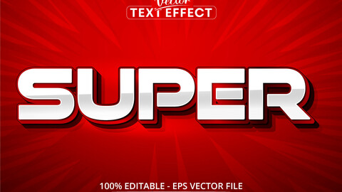 Super text, red color style editable text effect