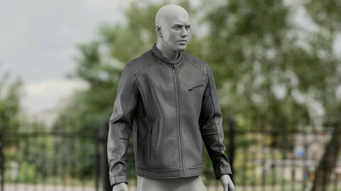 Realistic 3D model of Men's Leather Jacket 1