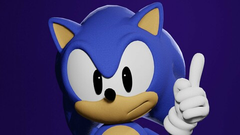 3D MODEL - CLASSIC SONIC - RIGGED-
