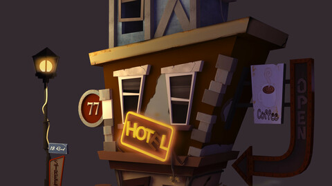 cartoon coffee street stylized