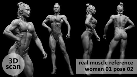 3D scan real muscleanatomy Woman01 pose 02