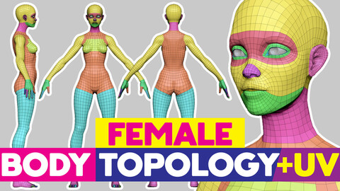 Full Female Body topology and UV map