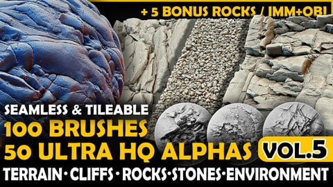 Ultra HQ Terrain / Rock Seamless Sculpt Zbrush brushes + Alphas (Blender, Substance, etc.) Vol.5
