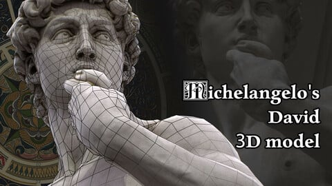 Michelangelo's David statue 3D model for real-time engines.