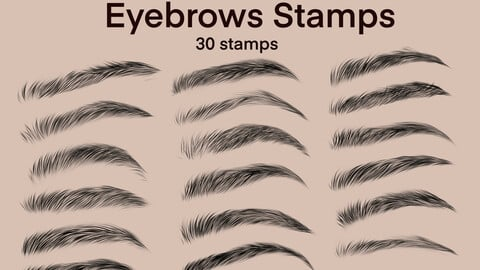 Eyebrows Stamps for Procreate 30 brushes